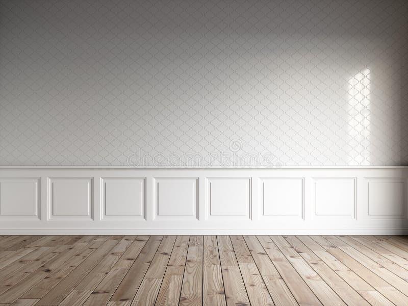 3d geef van wit binnenland met klassieke panelen, tegels op muur en natuurlijke vloer terug royalty-vrije illustratie