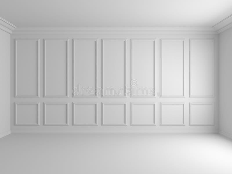 3d geef van wit binnenland met panelen op muur 8k terug stock illustratie