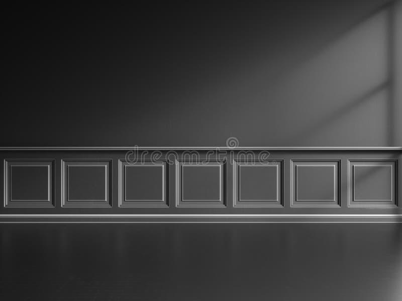 3d geef van zwart binnenland met klassieke panelen terug royalty-vrije illustratie