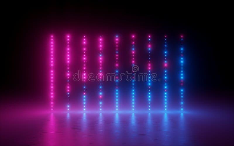 3d geef, vat achtergrond, het schermpixel, gloeiende punten, neonlichten, virtuele equaliser, grafiek samen, toont de ultraviolet stock illustratie