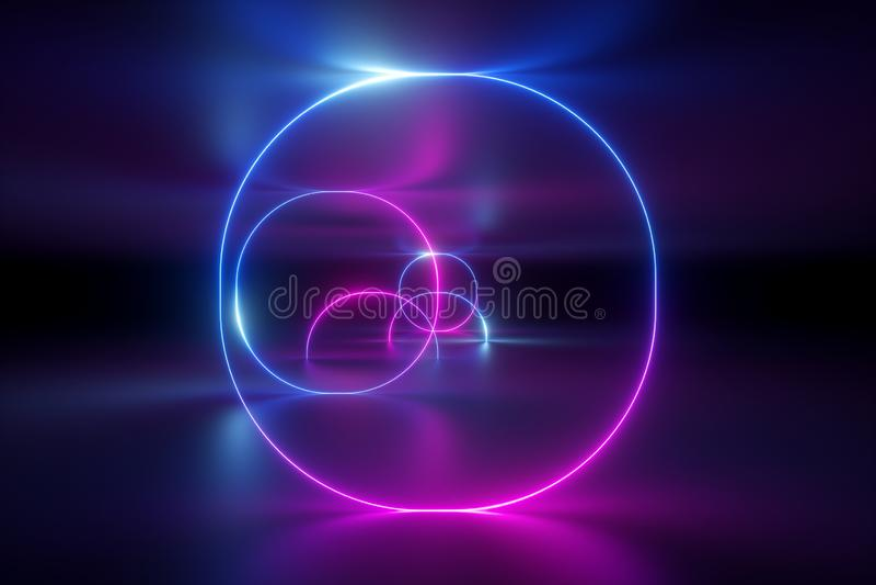 3d geef, vat achtergrond, neonlichten, ultraviolette gloeiende ringen, ronde lijnen, virtuele werkelijkheid, cirkels, rood blauw, royalty-vrije illustratie