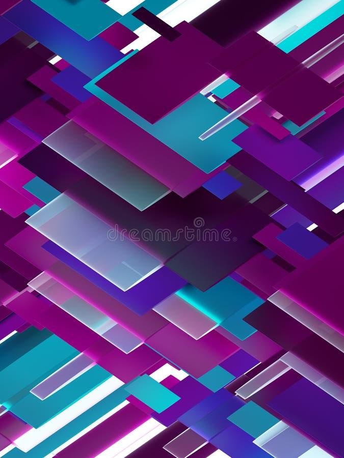 3d geef, vat geometrische achtergrond, purpere en blauwe panelen, vlakke lagen, patroon samen stock illustratie
