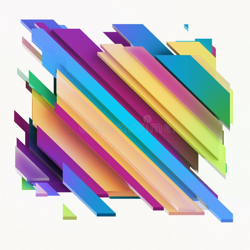 3d geef, vat geometrische achtergrond, spleetblokken, diagonale strepen, dynamische lijnen, veelkleurige panelen, fragmenten same vector illustratie