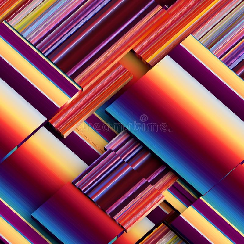 3d geef, vat geometrische achtergrond, spleetblokken, diagonale strepen, dynamische lijnen, veelkleurige panelen, fragmenten same royalty-vrije illustratie