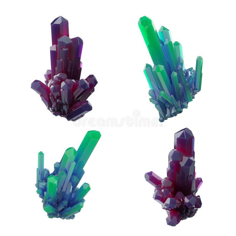 3d geef, vat kristallen, van de perspectiefmening, robijnrode en groene goudklompje, esoterisch die ontwerpelement samen, op witt vector illustratie