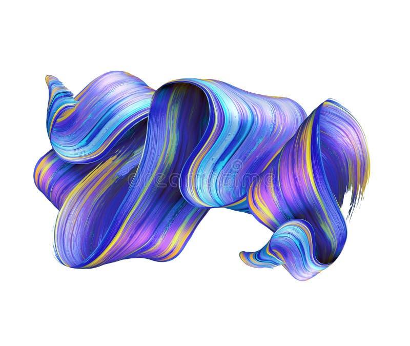 3d geef, vat kwaststreek, neonvlek, kleurrijk gevouwen lint, blauwe verftextuur, artistieke die illustratie samen, op wit wordt g stock foto's