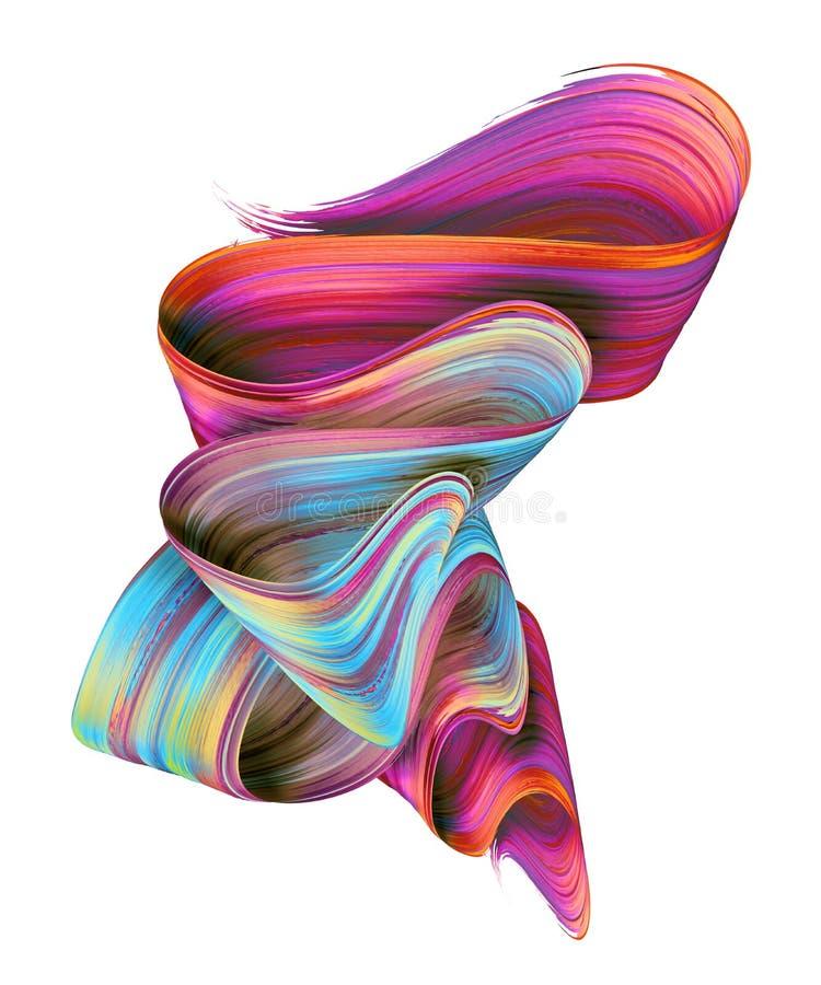 3d geef, vat kwaststreek, neonvlek, kleurrijk gevouwen lint, verftextuur, artistieke die illustratie samen, op wit wordt geïsolee royalty-vrije stock foto