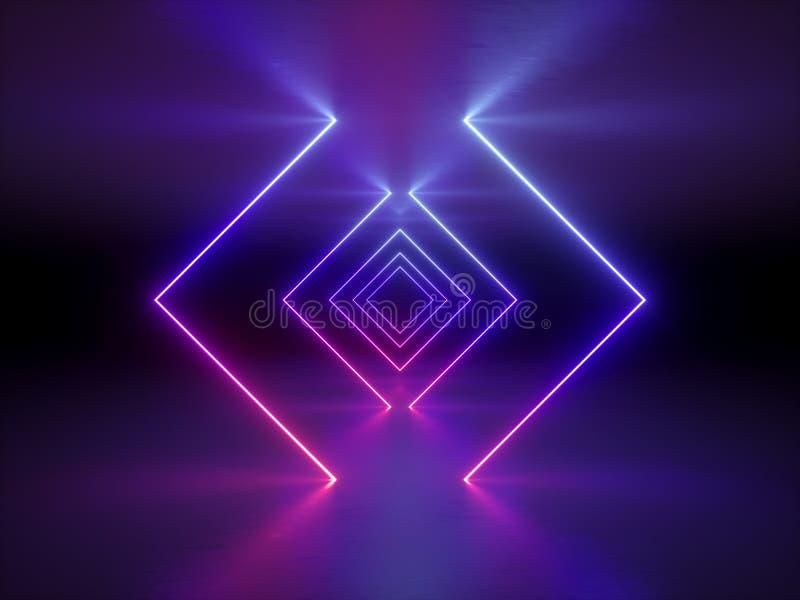 3d geef, vat manierachtergrond, gloeiende lijnen, violette neonlichten, ultraviolet neon vierkant portaal, tunnel, gang samen stock illustratie