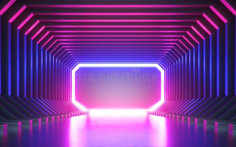 3d geef, vat neonachtergrond, leeg kader, het virtuele werkelijkheidsscherm, ultraviolet spectrum samen, toont de laser, vormt po vector illustratie