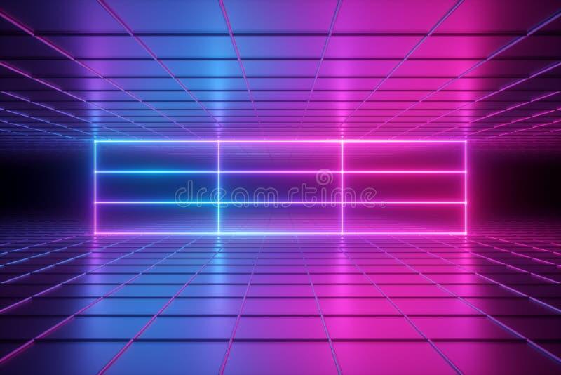3d geef, vat psychedelische achtergrond, neonlichten, virtuele werkelijkheid, ultraviolet net, gloeiende lijnen, doos, lege ruimt royalty-vrije illustratie