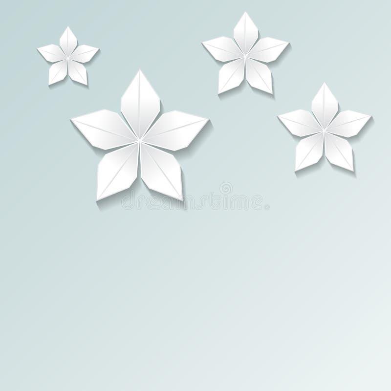 3d geef, vat Witboekbloemen, pastelkleur bloemenbackgroun samen stock illustratie
