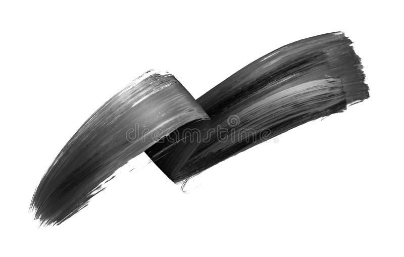 3d geef, vat zwarte kwaststreek, creatieve die inktvlek, ontwerpelement op witte achtergrond wordt geïsoleerd terug samen stock illustratie