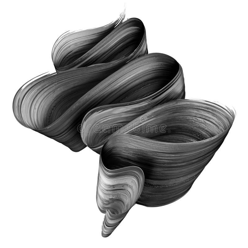 3d geef, vat zwarte kwaststreek, creatieve inktvlek, gevouwen die lint, ontwerpelement op witte achtergrond wordt geïsoleerd teru royalty-vrije illustratie
