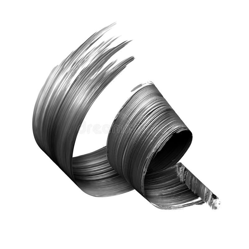 3d geef, vat zwarte kwaststreek, creatieve inktvlek, verftextuur, spiraalvormig die lint, ontwerpelement op wit wordt geïsoleerd  stock illustratie