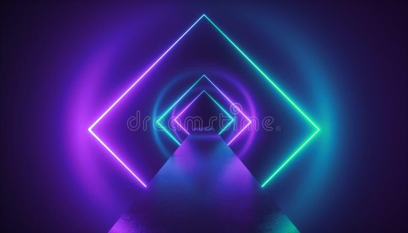 3d geef, virtueel werkelijkheidsmilieu, neonlicht, manierpodium, tunnel, gang, ultraviolette abstracte achtergrond terug, royalty-vrije illustratie