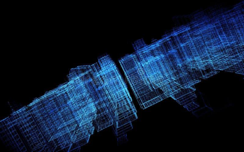 3D geef visualisatie van de virtuele ruimte van de stadsmatrijs terug royalty-vrije illustratie