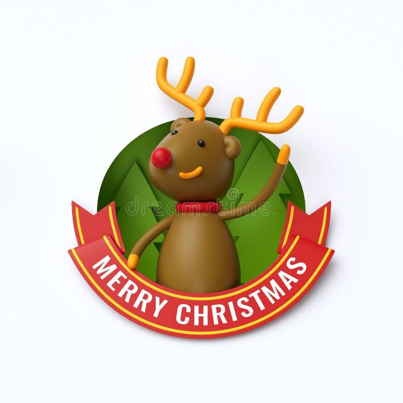 3d geef, Vrolijke Kerstmistekst, leuke herten, rendier, beeldverhaal CH terug stock illustratie