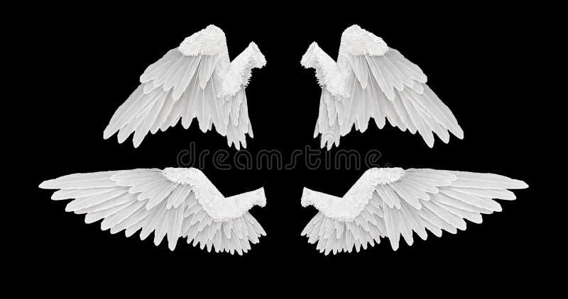 3D geef Witte engelenvleugels met op een zwarte achtergrond terug royalty-vrije illustratie