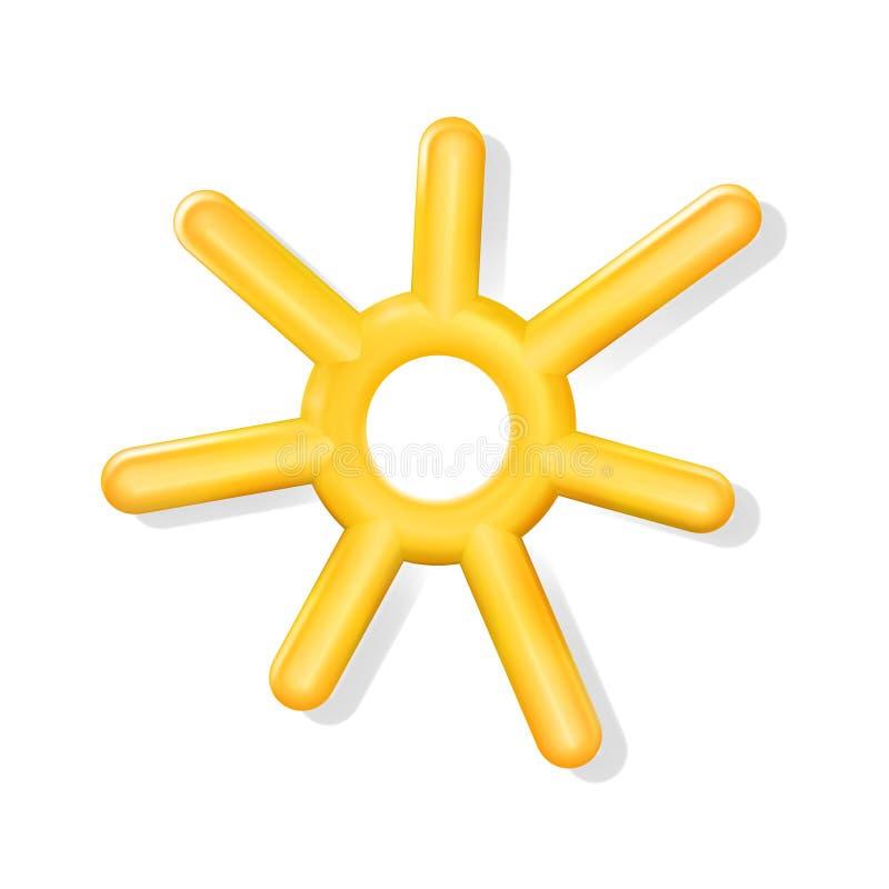 3d geel glanzend realistisch plastic Zonpictogram, stuk speelgoed voor infographics, diagram of presentatie Licht op hemel Modern royalty-vrije illustratie
