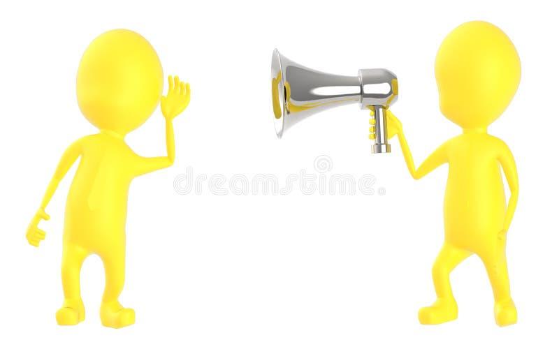3d geel karakter die aan luide hailer luisteren vector illustratie
