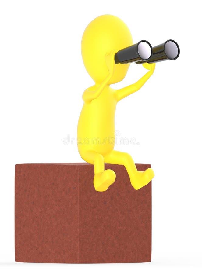 3d geel karakter die door binoculair kijken terwijl het zitten bovenop een blok stock illustratie