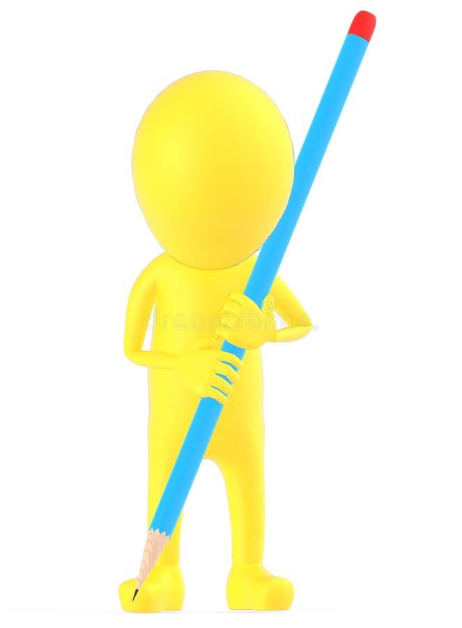 3d geel karakter die een het grote potlood en schrijven/een tekening houden stock illustratie