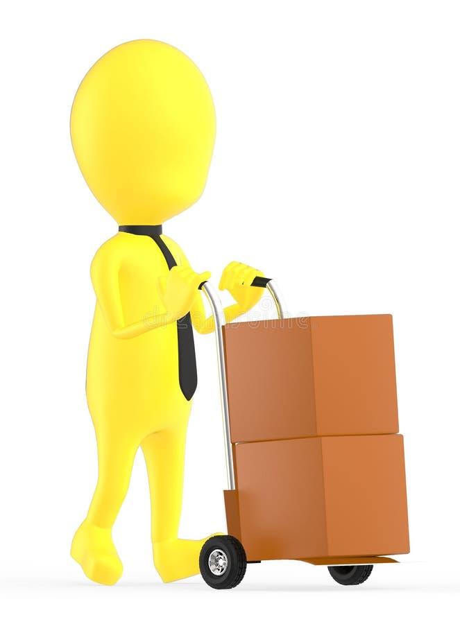 3d geel karakter die een karretje met kartondozen bewegen daarin royalty-vrije illustratie