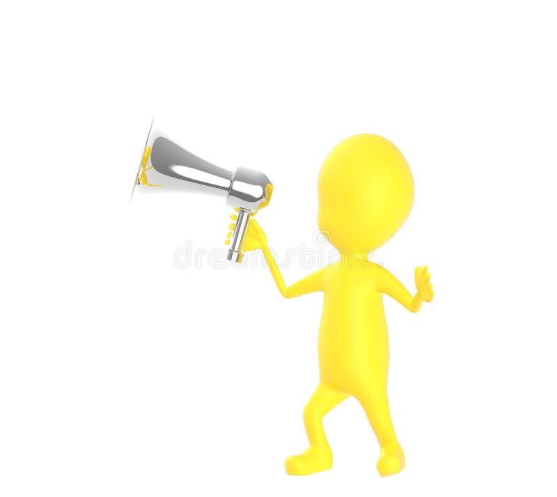 3d geel karakter die een luide spreker houden stock illustratie
