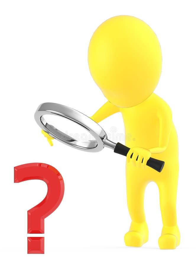 3d geel karakter die een vraagtekenteken onderzoeken door meer magnifier die het karakter op zijn handen houdt stock illustratie
