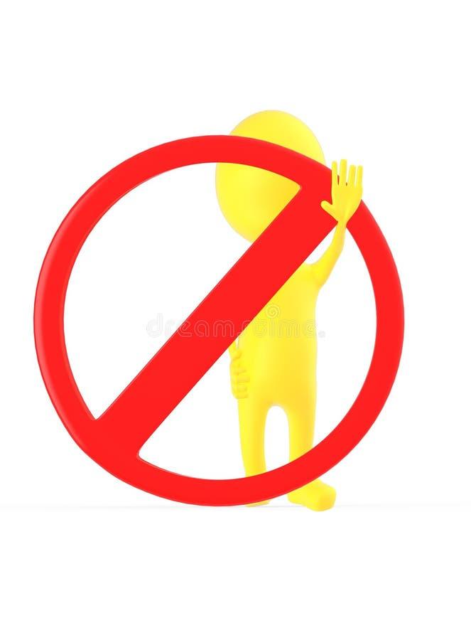 3d geel karakter die eindegebaar met zijn hand maken terwijl status dichtbij aan een verboden teken royalty-vrije illustratie