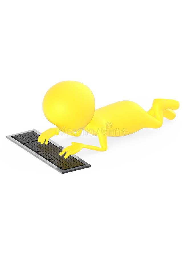 3d geel karakter die op grond liggen en toetsenbord gebruiken royalty-vrije illustratie