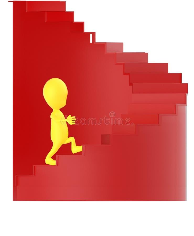 3d geel karakter die op spiraalvormige treden naar boven gaan royalty-vrije illustratie