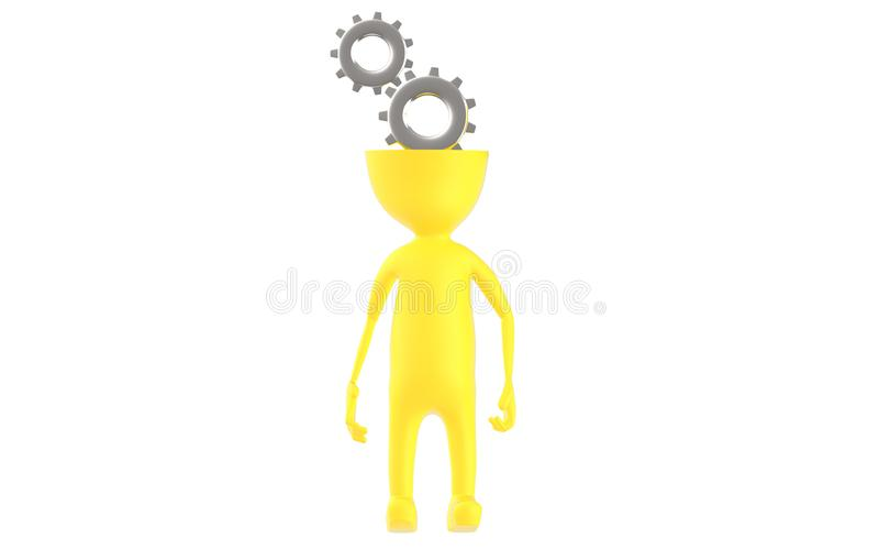 3d geel karakter met het hoofd van het radertjewiel royalty-vrije illustratie