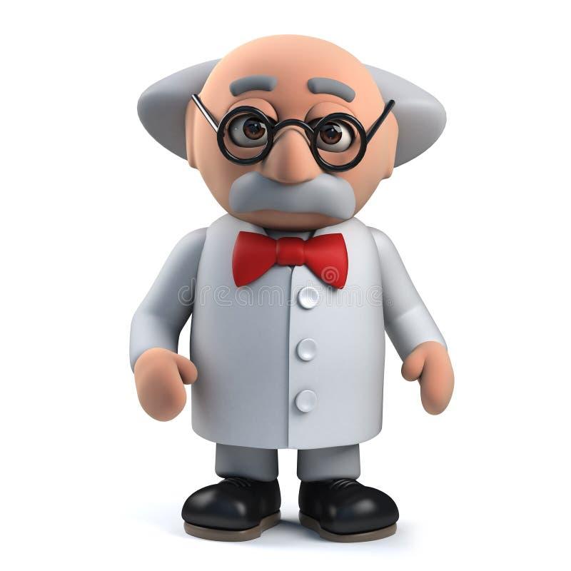 3d Gekke karakter van de wetenschapperprofessor royalty-vrije illustratie