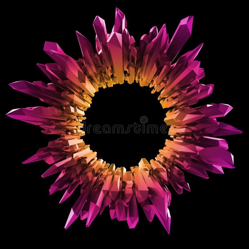 3d gele roze die kristallenachtergrond, om vorm wordt gekristalliseerd, isoleerde voorwerp, abstract robijnrood creatief behang,  stock illustratie