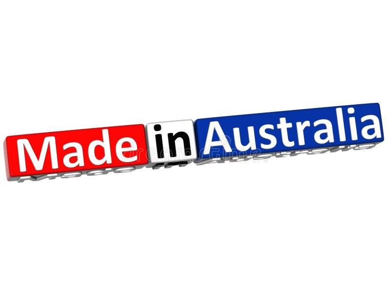3D Gemaakt in Australië over witte achtergrond stock illustratie