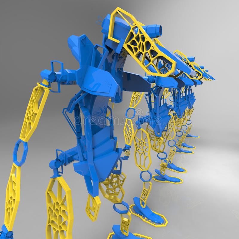 3D generative design of a robot - 3D Illustration stock illustration