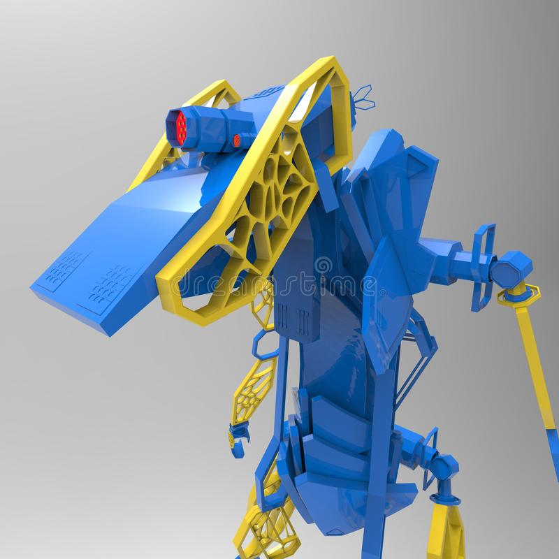 3D generative design of a robot - 3D Illustration royalty free illustration