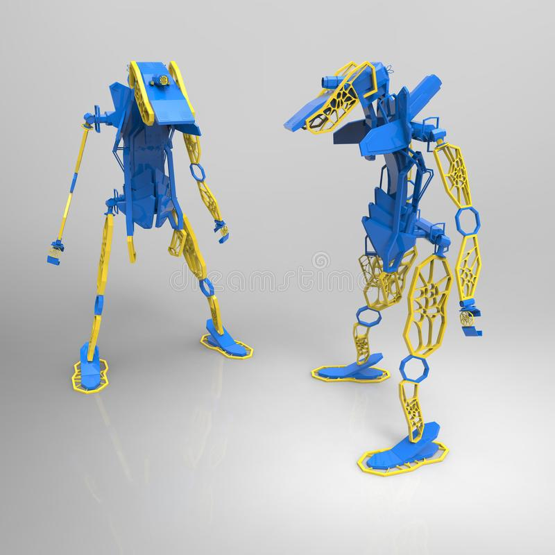 3D generatywny projekt robot - 3D ilustracja ilustracji