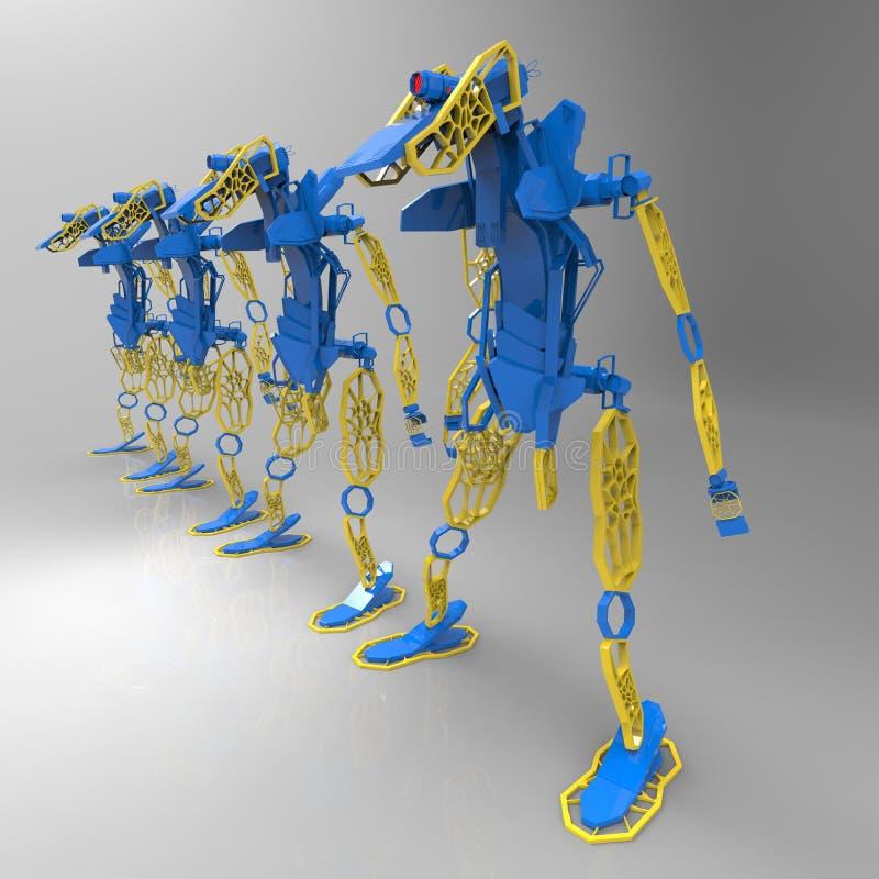 3D generatywny projekt robot - 3D ilustracja ilustracja wektor