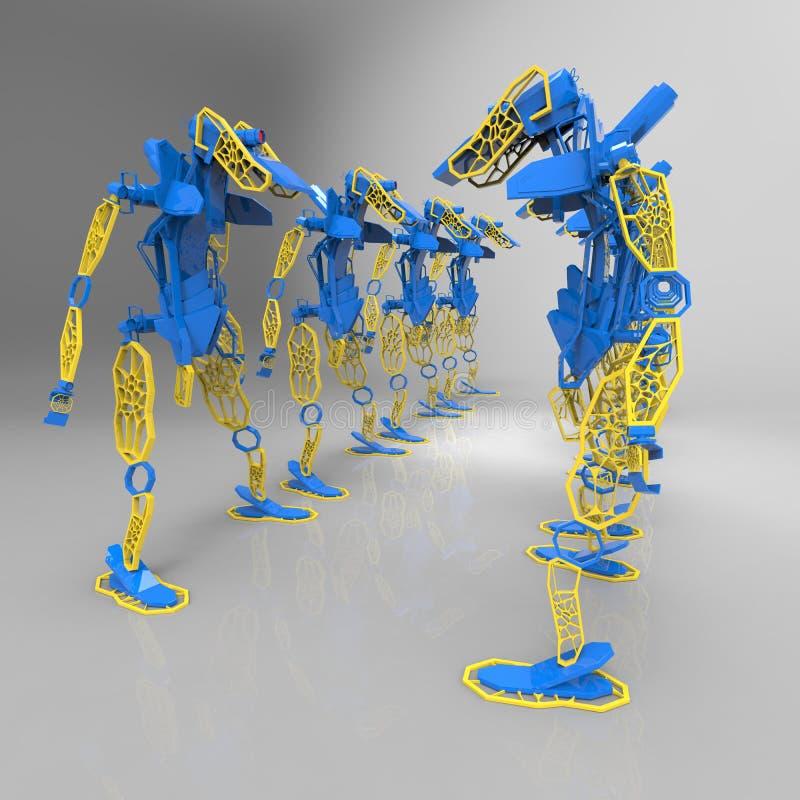 3D generatywny projekt robot - 3D ilustracja royalty ilustracja