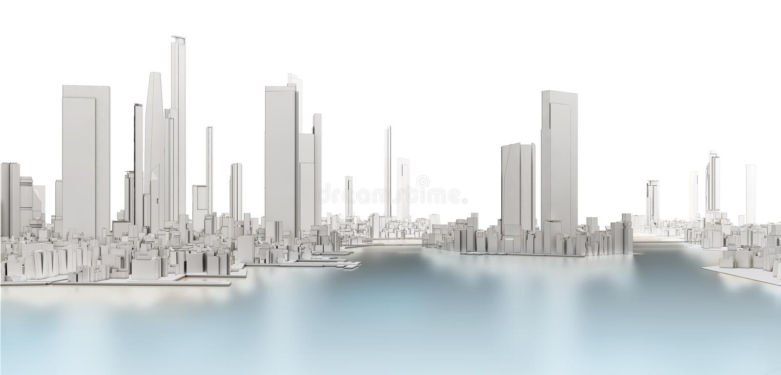 3d generic city with frozen lake. On white background 3D illustration vector illustration