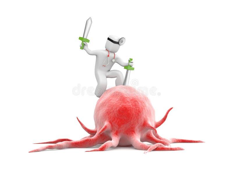 3d gente - carácter humano que lucha con el cáncer ilustración del vector