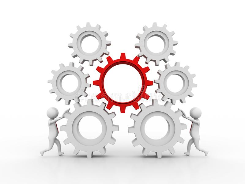 3d gente - hombre, mecanismo del hombre de negocios y de engranaje, representación 3D ilustración del vector