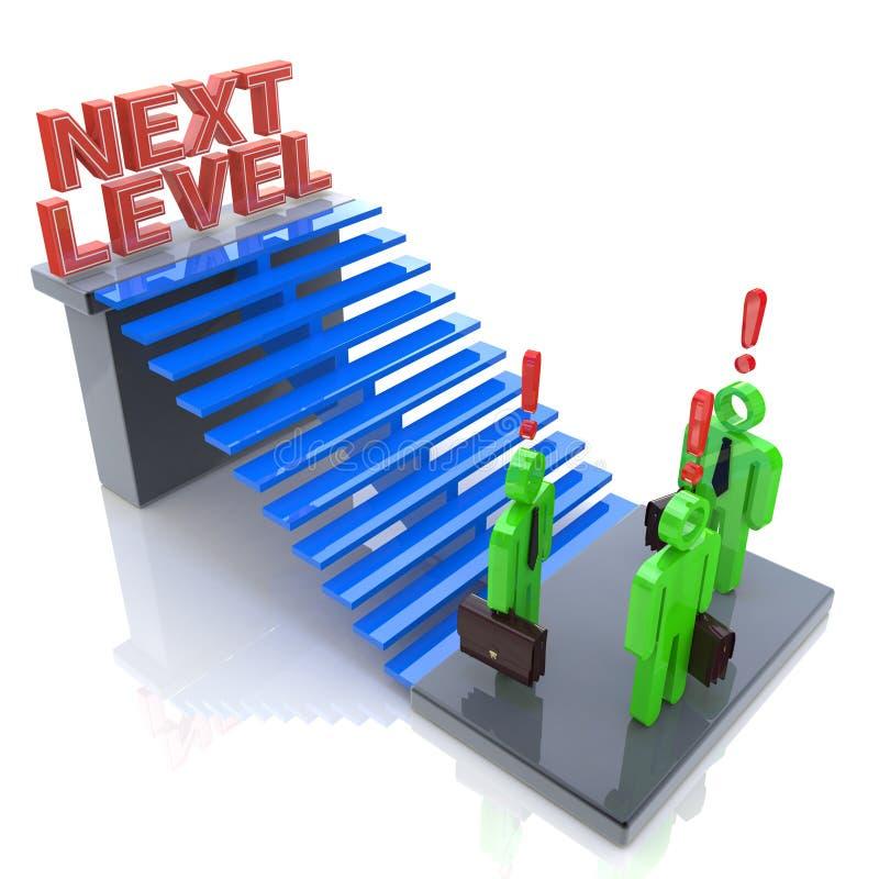 3d gente - hombre, persona con la escalera Nivel siguiente Concep del progreso ilustración del vector