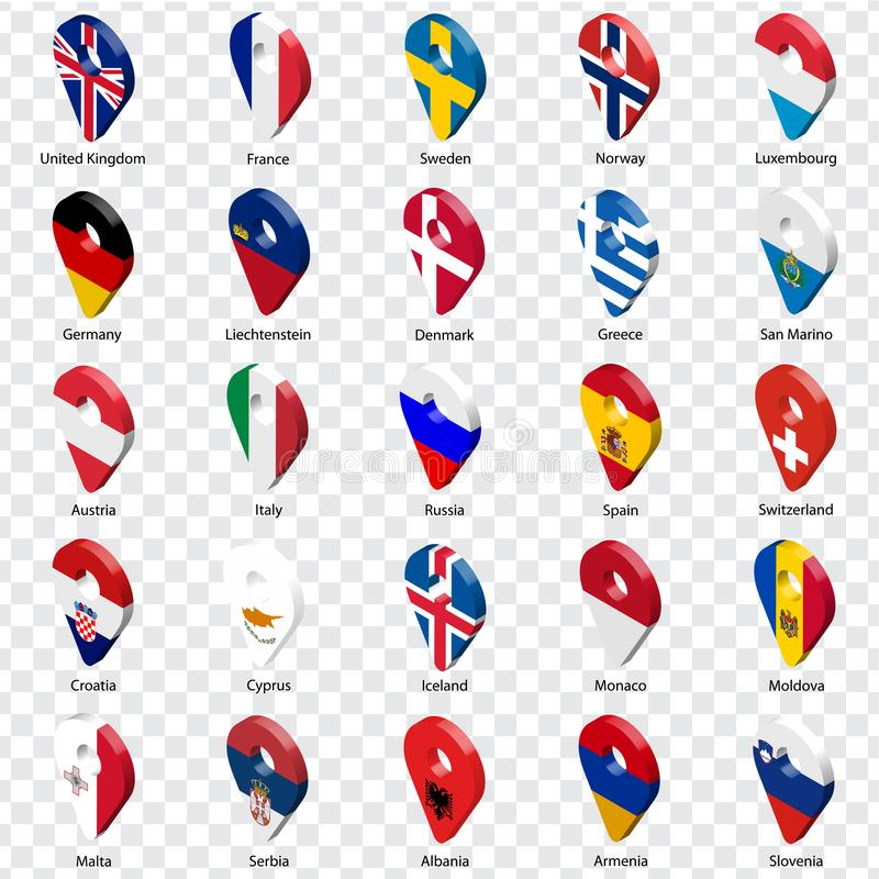 3D geolocation signs of twenty five European countries with inscriptions. Set of  twenty five 3d geolocation icons on transparent vector illustration
