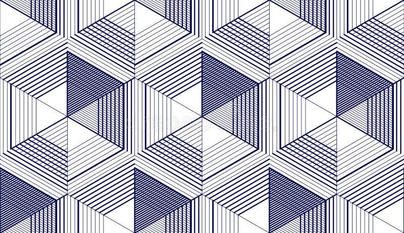 3d geométrico alinha o teste padrão sem emenda abstrato, fundo do vetor A lápis ilustração infinita da engenharia do estilo da te ilustração do vetor