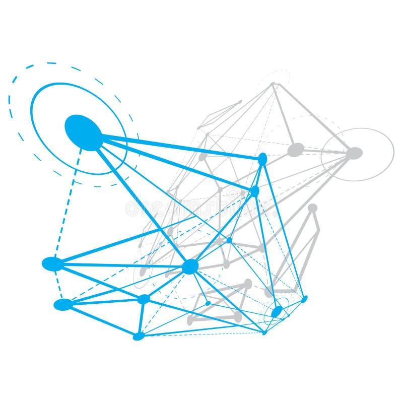 3D geom?trico abstracto tall? el objeto, la tecnolog?a digital moderna y el fondo del vector del tema de la ciencia stock de ilustración
