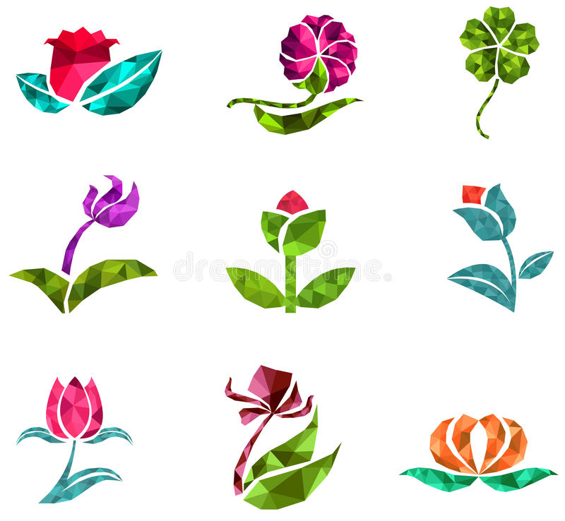 3D geometric polygon jewelry of creative crystal flower flora such as lotus daisy tulip rose clover icon gem collection set stock illustration