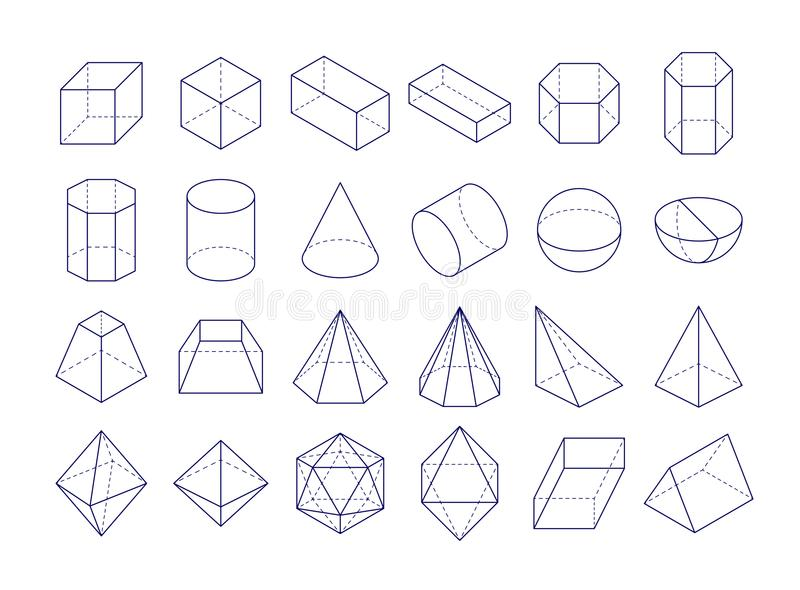 3D geometric shapes royalty free illustration